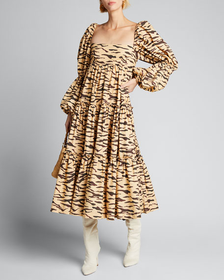 Nola Tiered Tiger-Print Puff-Sleeve Dress