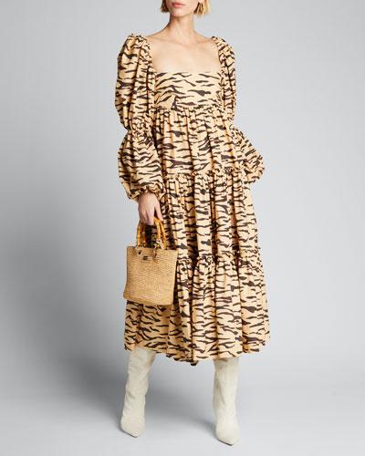 Nola Tiered Tiger-Print Puff-Sleeve Dress