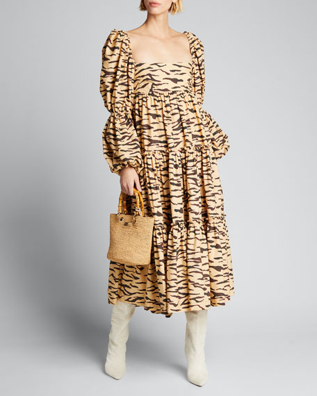 Image 1 of 1: Nola Tiered Tiger-Print Puff-Sleeve Dress