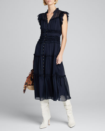 Rosalind Tiered Ruffle Button-Front Midi Dress