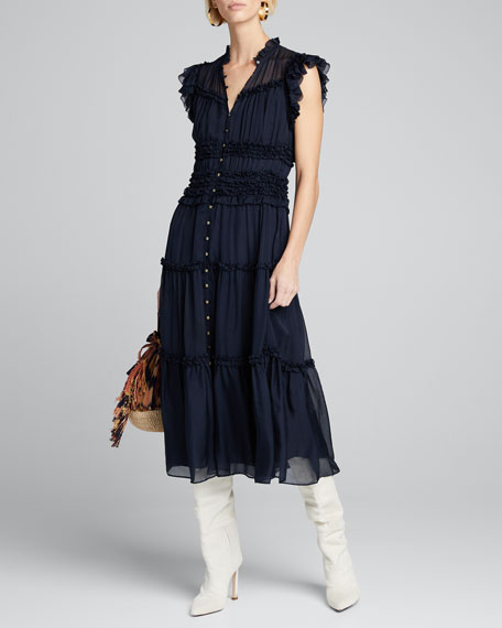 Rosalind Tiered Ruffle Button-Front Midi Dress
