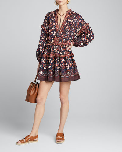 Marigold Printed Tie-Front Short Dress
