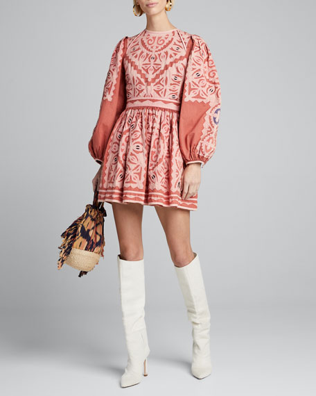 Omaira Embroidered Blouson-Sleeve Short Dress