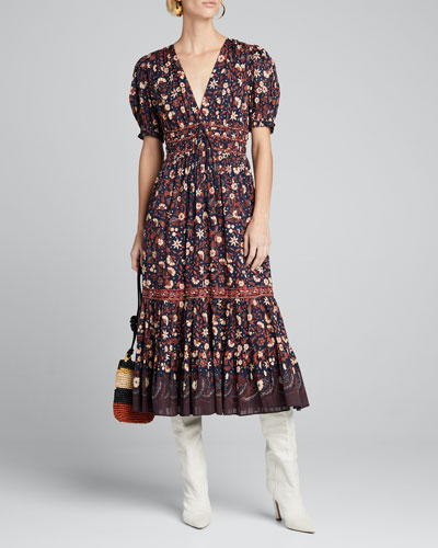 Zaria Printed V-Neck Midi Dress