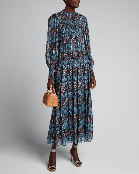 Estella Shirred Long-Sleeve Printed Maxi Dress