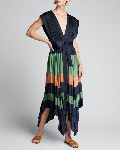 Maysha Striped Pleated Handkerchief Dress