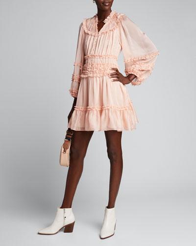 Abilene Yoked Ruffle Button-Front Dress