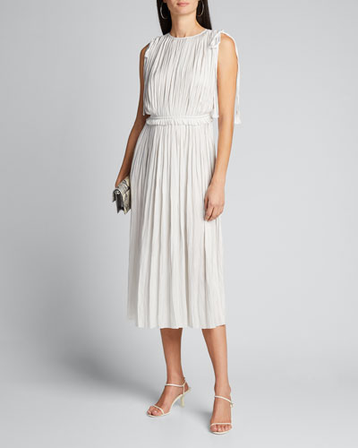 Alessa Pleated Sleeveless Midi Dress