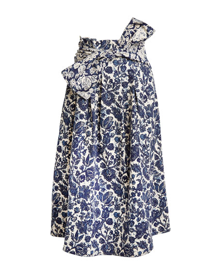 Virgil Printed Denim Pleated Skirt w/ Bow
