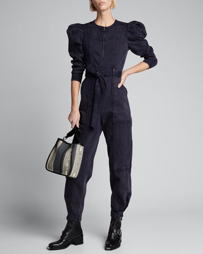 Hesper Puff-Sleeve Denim Jumpsuit