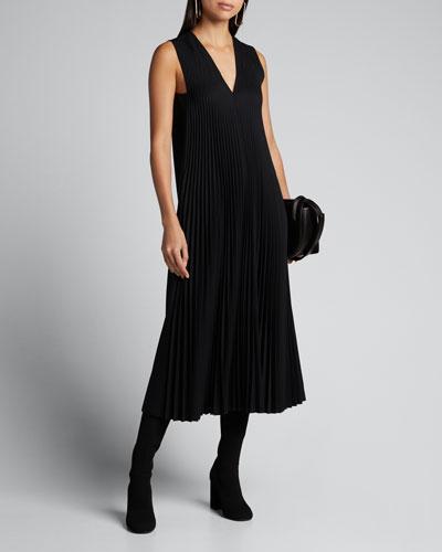 Enid Sleeveless Pleated Wool Midi Dress