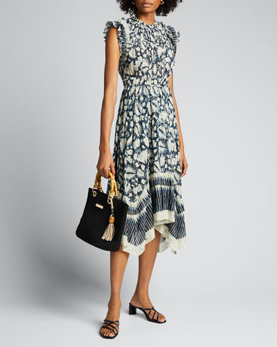 Amalia Batik-Print Sleeveless Midi Dress