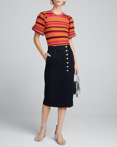 Ramia Striped Short-Sleeve Sweater