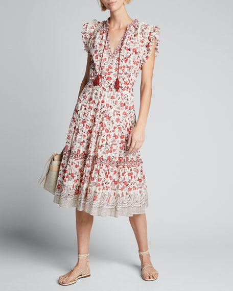 Image 1 of 1: Prunella Printed Tie-Front Midi Dress