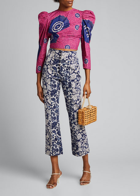 Eden Printed Puff Sleeve Cropped Blouse by Ulla Johnson
