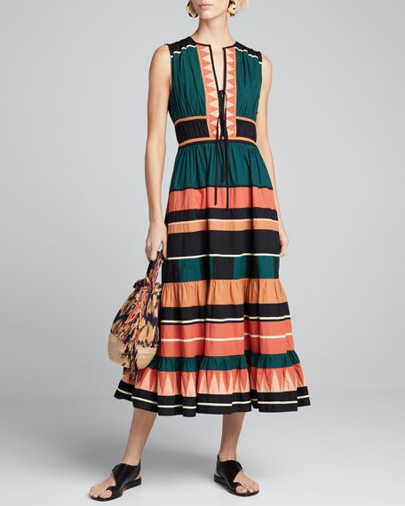 Kaiya Sleeveless Striped Long Dress