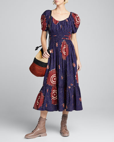 Isla Printed Puff-Sleeve Midi Dress
