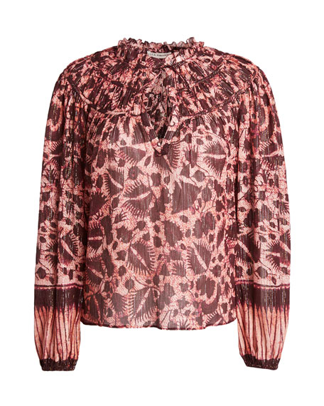 Yulia Printed Metallic Yoked Blouse