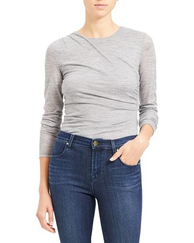 Wool Jersey Long-Sleeve Twist Top