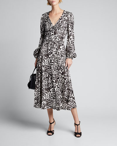 Gina Leopard Print Jacquard Midi Dress