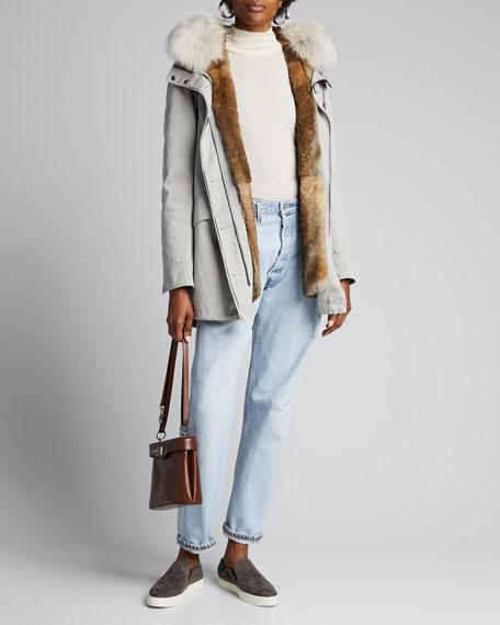 Coyote Fur Ruff Jacket w/ Rabbit Fur Trim
