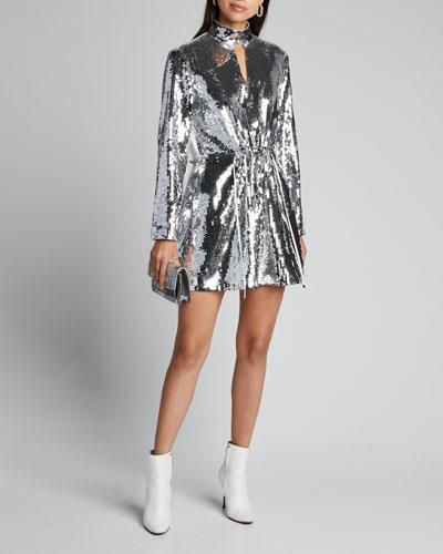 Avril Sequined Keyhole Short Dress