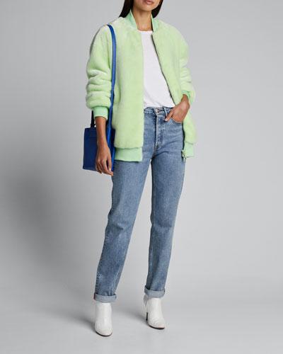 Faux-Fur Zip-Front Track Jacket