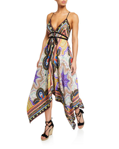 Geometric Paisley Handkerchief-Hem Dress