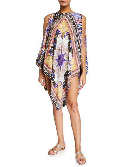 Geometric Paisley Cold-Shoulder Coverup Poncho