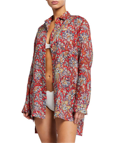 Paisley-Print Button-Down Tunic Coverup