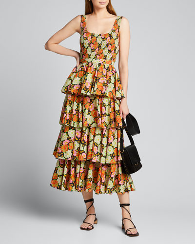 Naomi Smocked Floral Tiered Midi Dress