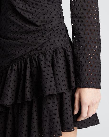 Lola Long-Sleeve Eyelet Flounce Dress