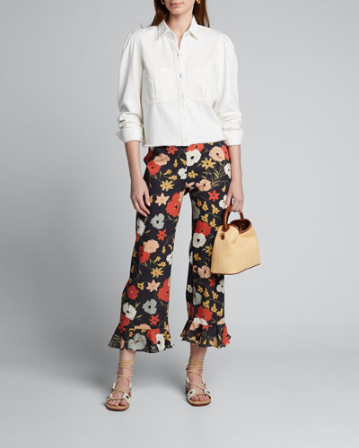 Floral Print Cotton Flare-Pants