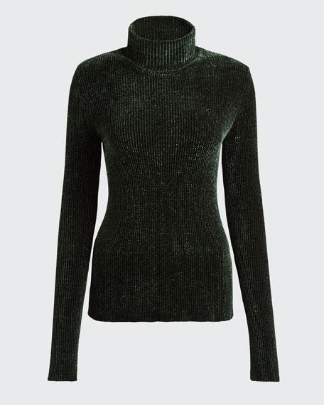 Open-Back Velvet Turtleneck Sweater