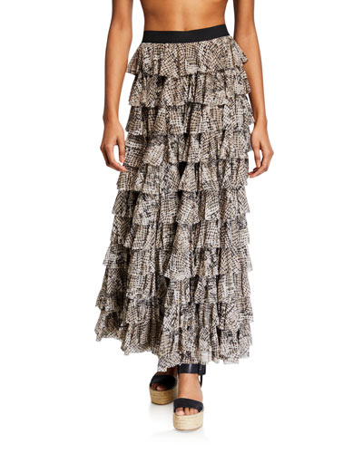 Tiered Ruffle Coverup Skirt
