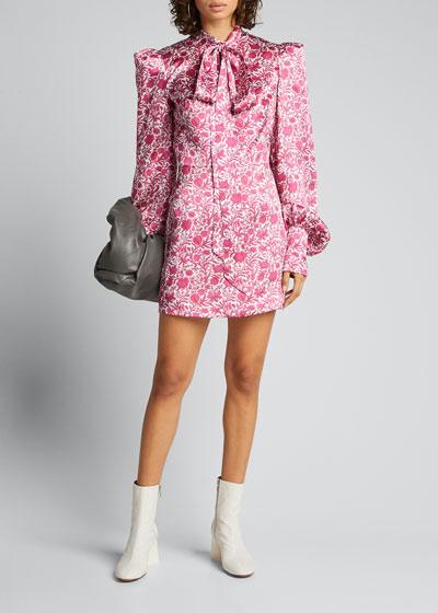 Printed Tie-Neck Mini Dress