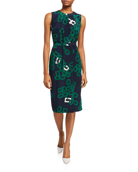 Image 1 of 1: Jude Falling Link Print Sleeveless Belted Silk Dress