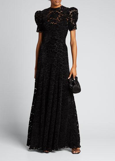 Flocked Lace Short-Sleeve Maxi Dress