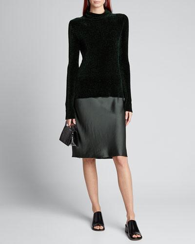 Velvet-Strap Satin Slip Dress