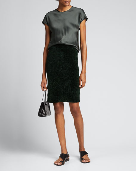 Image 1 of 1: Ribbed Velvet Pencil Skirt