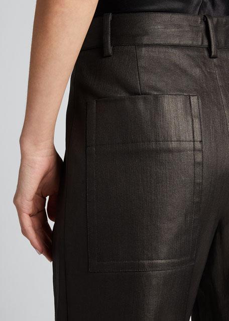 Coated Denim Cuffed Nerd Pants