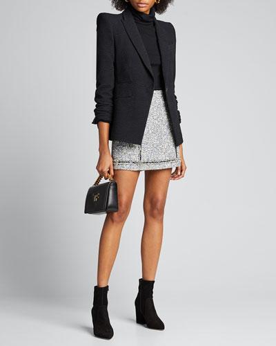 Alfie Tweed Button Skirt