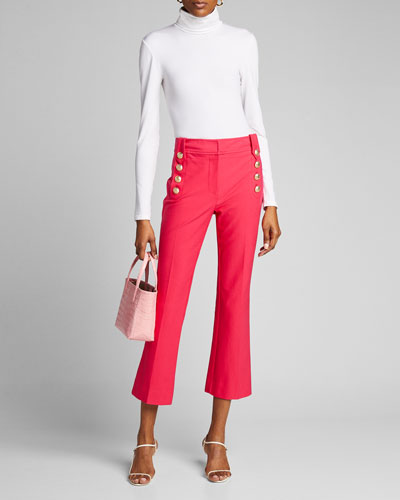 Robertson Cropped Flare Trousers with Sailor Buttons