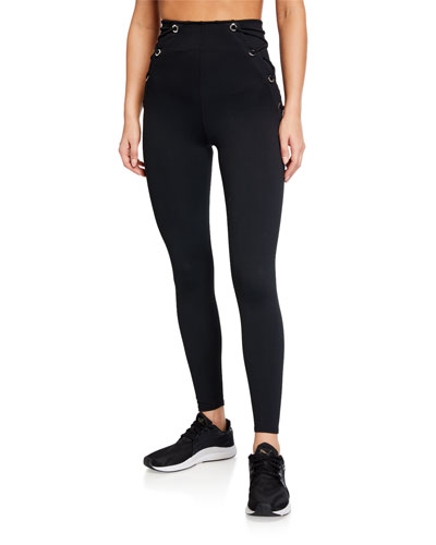 High-Rise Lace-Up Leggings - Inclusive Sizing