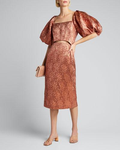 Limbara Puff-Sleeve Cutout Cocktail Dress