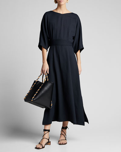 Lyss 1/2-Sleeve Crepe Dress