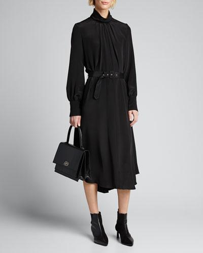 Gather Mock-Neck Button-Back Belted Dress