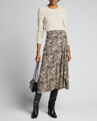 Ramos Snake-Print Midi Skirt