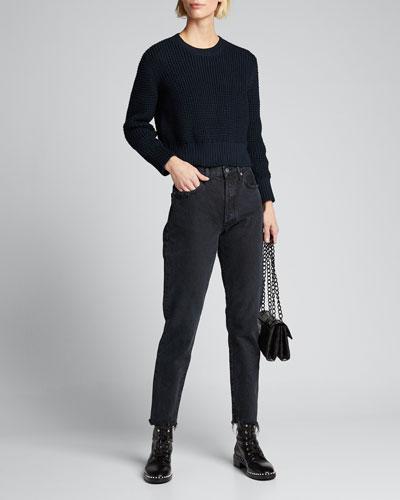 Theorem Open-Back Cropped Pima Sweater