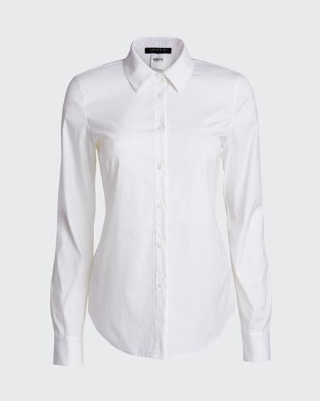 Montego Italian Stretch Cotton Button-Down Blouse